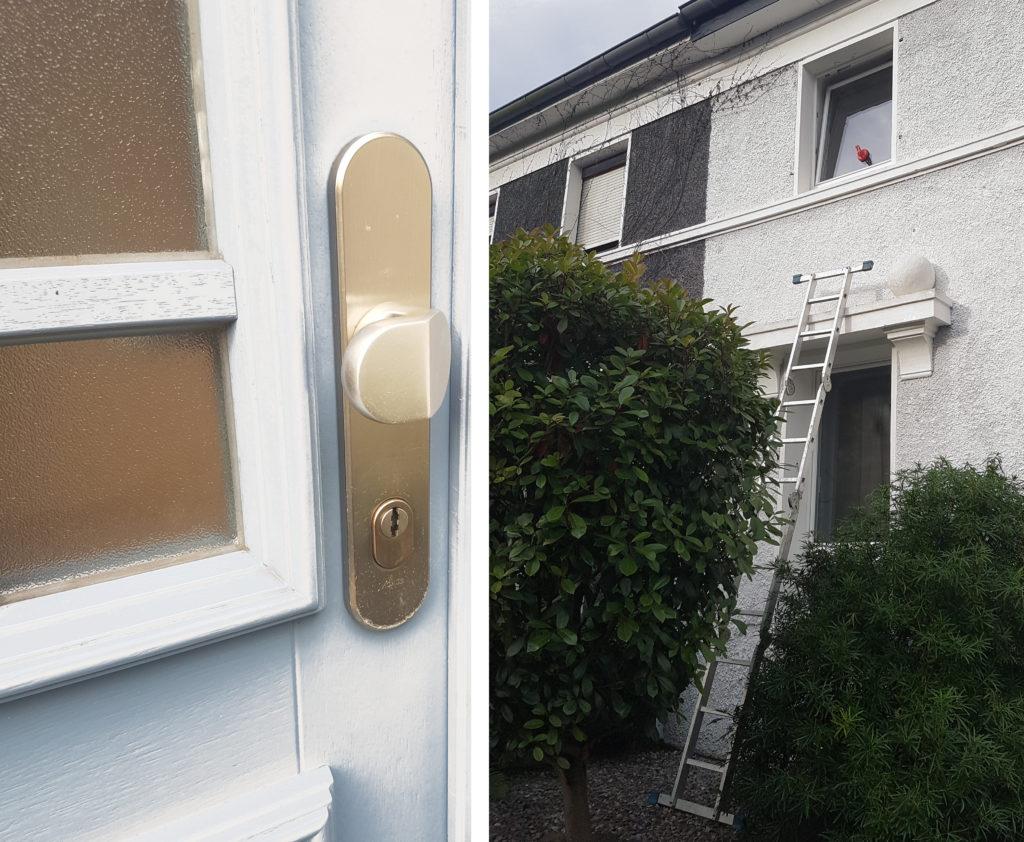 Verschlossene Tür mit Ziehschutz